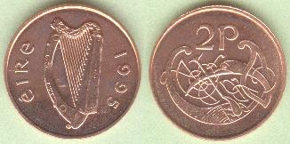 IRELAND 20 pence horse Eire 1986-2000 27mm bronze coin